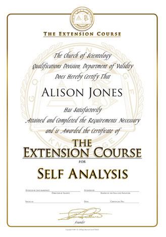 Self Analysis extension cert